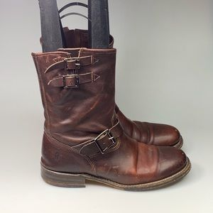 FRYE BROWN LEATHER MOTORCYCLE BOOTS USA BUCKLE
